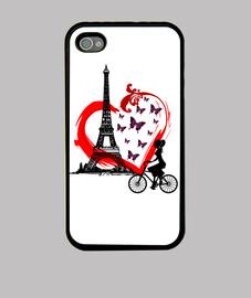 Funda iPhone 4, negra - Imagen de corazón, Torre Eiffel