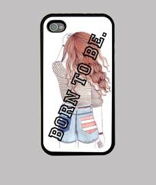 Funda iPhone 4, negra, Born to be, vintage