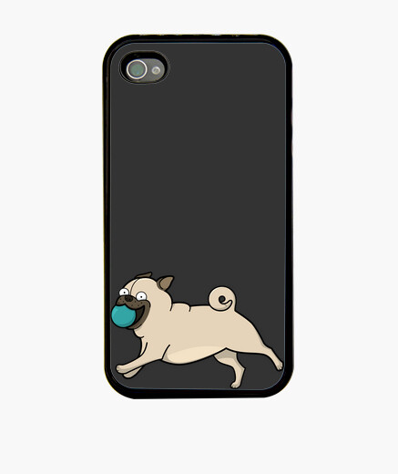 Funda iPhone 4, negra Carlino pug con pelota