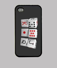 Funda iPhone 4, negra dados de poquer