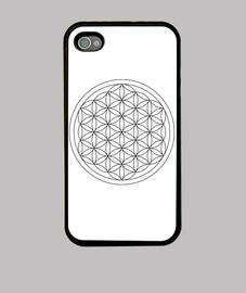 Funda iPhone 4, negra flor de vida