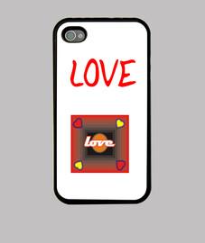 Funda iPhone 4, negra Love