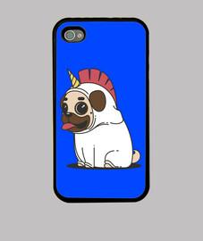 Funda iphone 4 Perro Carlino Unicornio Pug