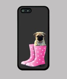 Funda iPhone 5 / 5s, carlino y botas de agua rosa