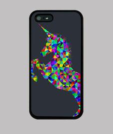 Funda iPhone 5 / 5s, negra con unicornio psicodélico