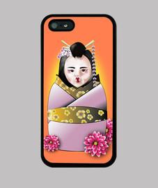Funda iPhone 5 / 5s, negra matrioshka geisha