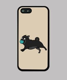 Funda iPhone 5 Perros Pug Carlino Negro
