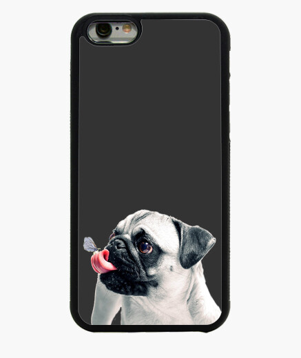 Funda iPhone 6 6, negra carlino pug lengua