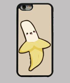 Funda iPhone 6, negra, platano kawaii
