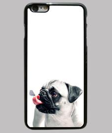 Funda iPhone 6 Plus, carlino pug lengua negra