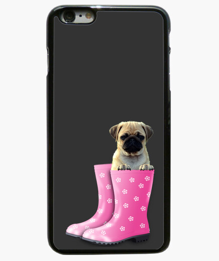 Funda iPhone 6 Plus 6 Plus, carlino y botas de agua rosa