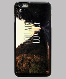 Funda iPhone 6 Plus, negra; carretera, frase