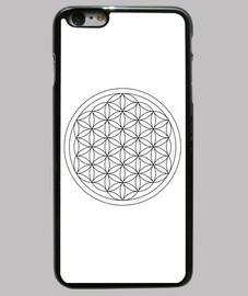 Funda iPhone 6 Plus, negra. Flor de vida