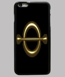 Funda iPhone 6 Plus, negra numero aureo