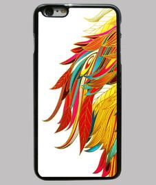 Funda iPhone 6 Plus, negra plumas colores