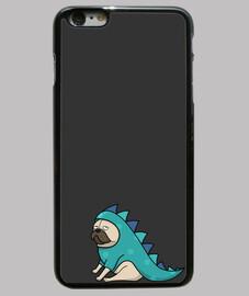 Funda iPhone 6 Plus, negra Pug  carlino dinosaurio