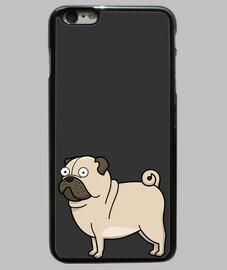 Funda iPhone 6 Plus, negra Pug carlino dibujo