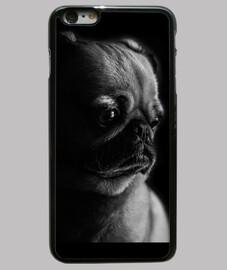 Funda iPhone 6 Plus, pug blanco y negro negra