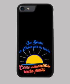 Funda iPhone 7/8, negra  Diseño Que bonita es Cádiz por la tarde