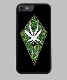 Funda iPhone 7/8, negra cannabis.