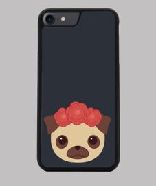 Funda iPhone 7/8, negra Diseño Perrita con Flores