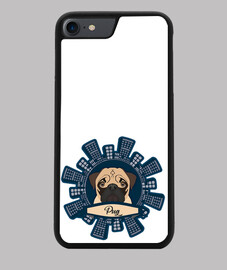 Funda iPhone 7/8, negra Diseño Pug Rascacielos