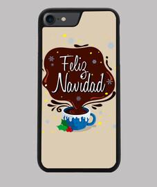 Funda iPhone 7/8, negra Taza Feliz Navidad
