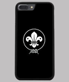 Funda iPhone 7/8 PLUS, negra, flor de lis