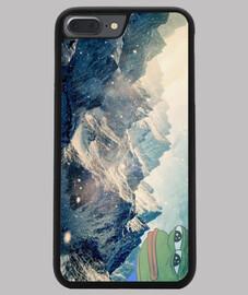 Funda iPhone 7/8 PLUS pepe the frog snowy mountains, negra