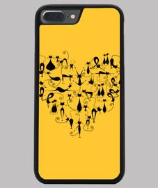 Funda iPhone 7 y 8 PLUS Corazón gatuno