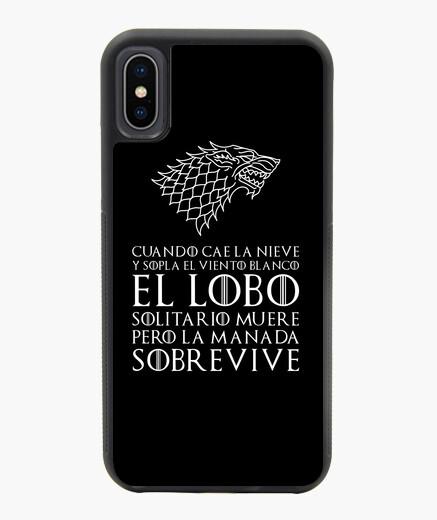 Funda iPhone X / XS negra, Lobo solitario - Juego de Tronos
