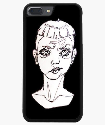 """Funda iPhone 7 Plus / 8 Plus original ilustración """"one line"""" con fondo negro sad boy"""