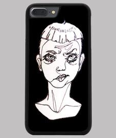 """Funda iphone original ilustración """"one line"""" con fondo negro sad boy"""