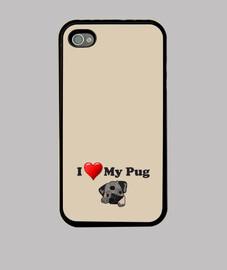 Funda para movil iPhone 4 o iPhone 4S I love my pug