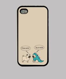 Funda para movil iPhone 4 o iPhone 4S pug dinosaurio