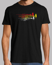 funny multicoloured trumpets t-shirt