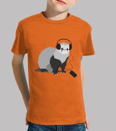 Funny Music Loving Ferret Kids Tee