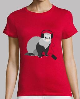 Funny Music Loving Ferret T-shirt
