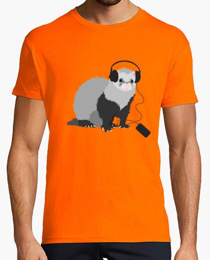Funny Music Loving Ferret Tee t-shirt