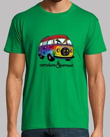 Galgos por el mundo_Carretera y camper Camiseta Hombre Manga Corta