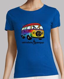 Galgos por el mundo_Carretera y camper Camiseta Mujer Manga Corta