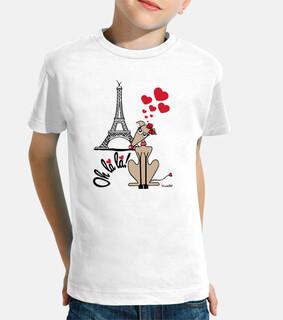 Galgos por el mundo_Paris Camiseta Niña Manga Corta