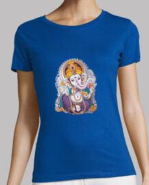 Ganesh Mujer, manga corta, gris oscuro, calidad premium