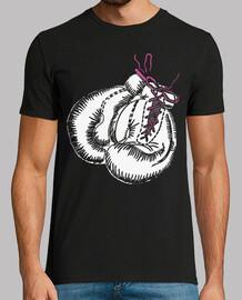 gants de boxe blancs noeud rose