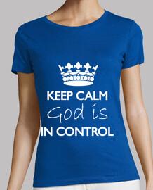 garder dieu calme est dans le contrôle bleu t-shirt