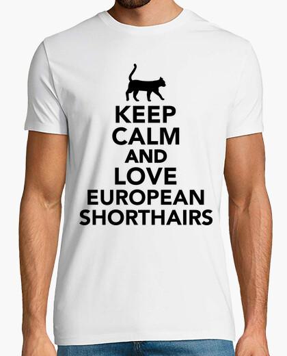 Tee-shirt garder le calme et l'amour shorthair européen
