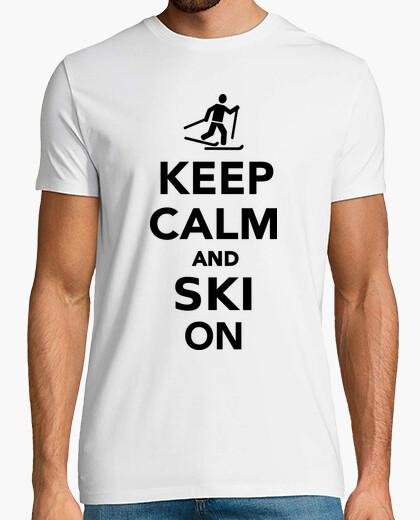 Tee-shirt gardez le calme et skier sur