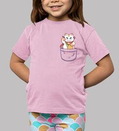 gato afortunado del bolsillo - camisa de los niños