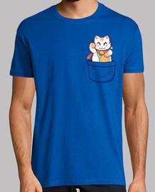 gato afortunado del bolsillo - camisa para hombre