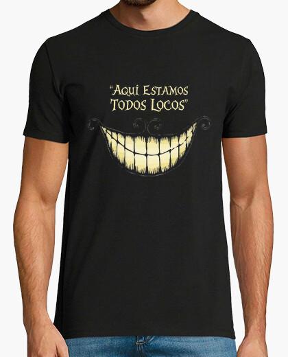 Camiseta Gato Alicia. Manga corta negra chico